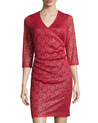 Shimmer-Lace Tuck-Pleated Dress, Poinsettia