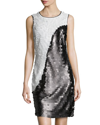 Two-Tone Allover Sequin Dress, Black/White