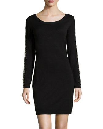 Bead-Embellished Knit Sweaterdress, Black