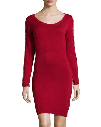 Bead-Embellished Knit Sweaterdress, Poinsettia