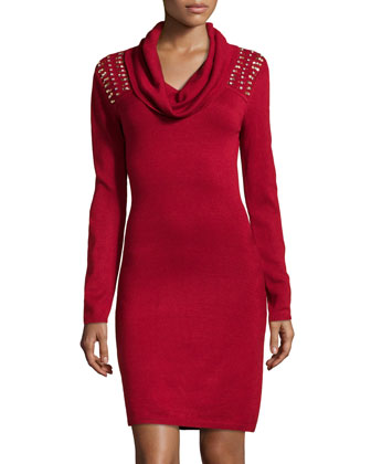 Crystal-Beaded Yoke Sweaterdress, Poinsettia