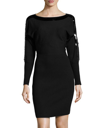Sequin-Trimmed Mixed-Knit Sweaterdress, Black