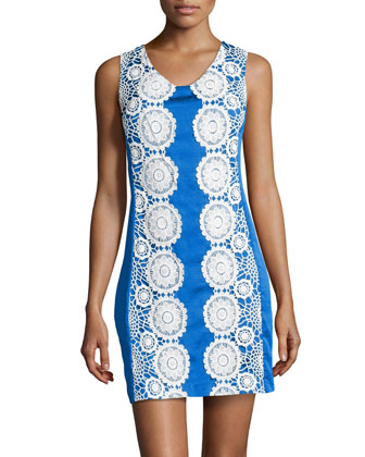 Floral Lace-Trimmed Doupioni Dress, Blue/White