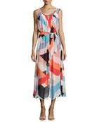 Geometric-Print Chiffon Draped Maxi Dress