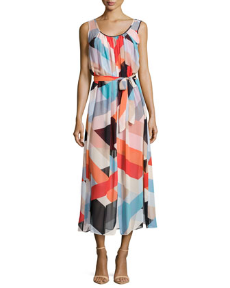 Geometric-Print Chiffon Draped Maxi Dress