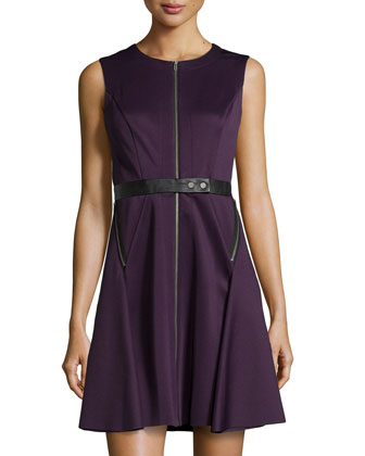 Zip-Front Leather-Belted Fit-And-Flare Scuba Dress, Purple/Black