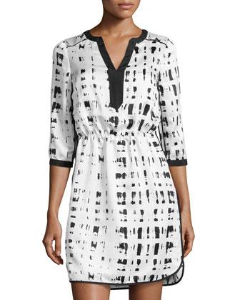 Brush-Print Split-Neck Charmeuse Dress, Black/White
