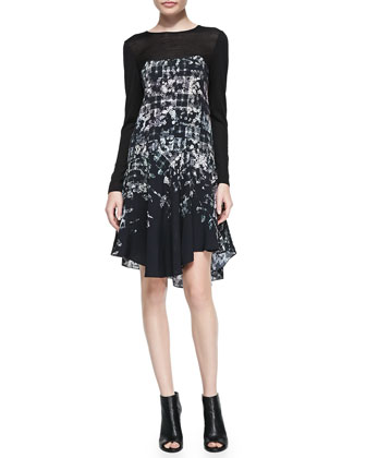 Floral Fields Long-Sleeve Ruffled Asymmetric Dress