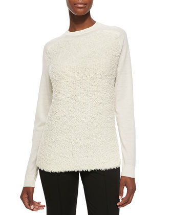 Jewel-Neck Sweatshirt Sweater W/ Furry Front