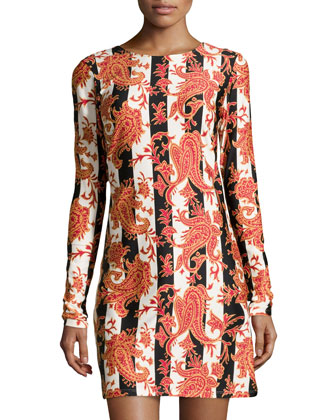 Morgan Baroque-Print Stretch-Knit Dress, Princess