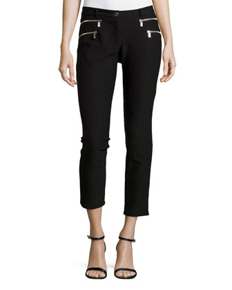 Double Zipper Skinny Jeans, Black
