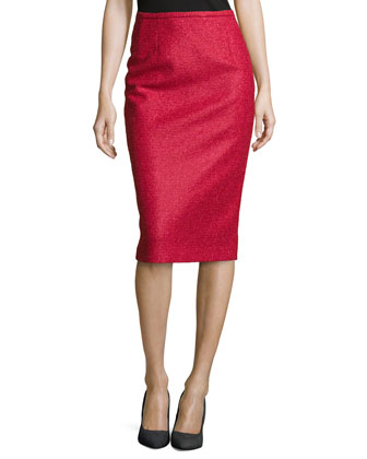 Boucle Tweed Pencil Skirt, Rose/Azalea