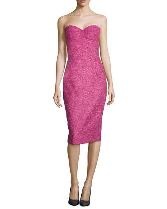 Boucle Tweed Bustier Dress, Peony/Begonia