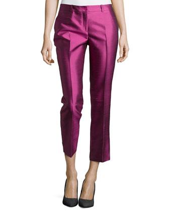 Samantha Cropped Shantung Pants, Peony