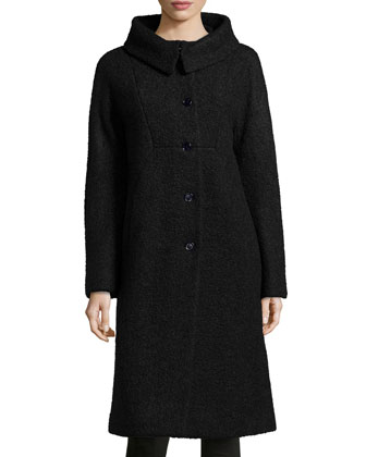 Poodle Balmacaan Boucle Coat, Black