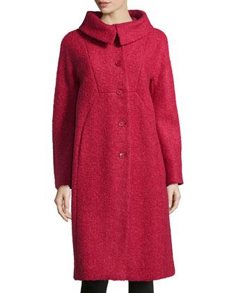 Poodle Balmacaan Boucle Coat, Rose