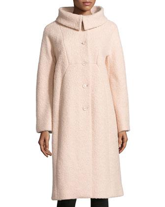 Poodle Balmacaan Boucle Coat, Nude
