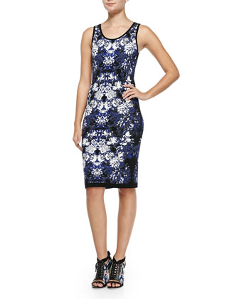 Sleeveless Floral-Knit Tank Dress