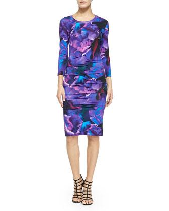 3/4-Sleeve Floral Jersey Dress