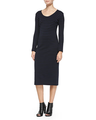 Long-Sleeve Fitted Striped Dress