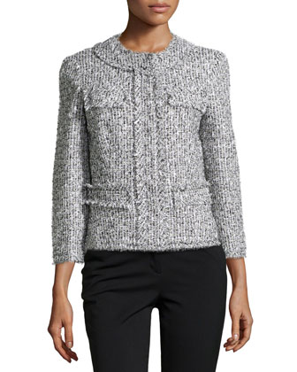 Tweed Collarless 3/4-Sleeve Jacket,