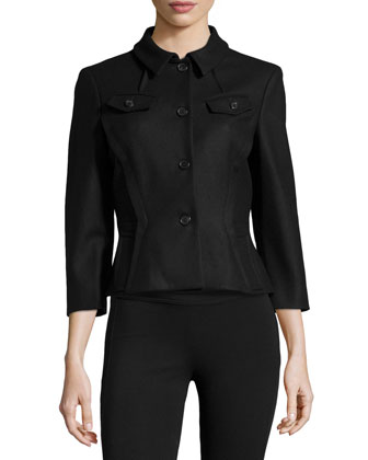 Contour-Waist 3/4-Sleeve Jacket