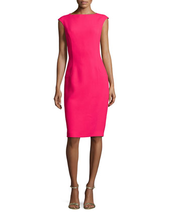 Cap-Sleeve Sheath Dress, Azalea