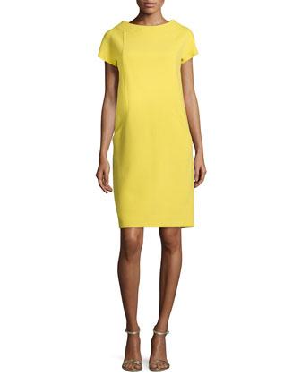 Boucle Crepe Shift Dress, Chartreuse