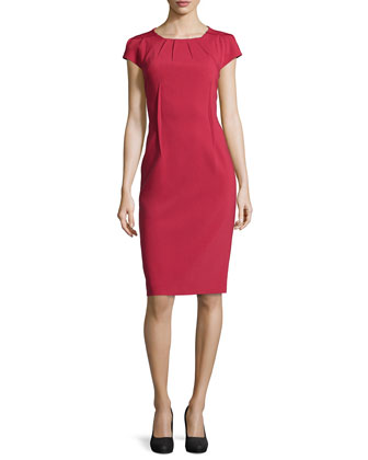 Crepe Pleated-Neck Sheath Dress, Rose