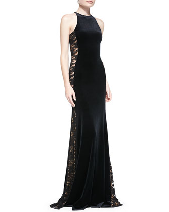 Sleeveless Velvet Lace-Side Gown