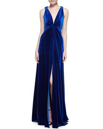 Sleeveless Velvet Twisted-Straps Gown