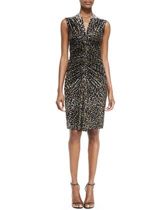 Velvet Animal-Print Cocktail Dress
