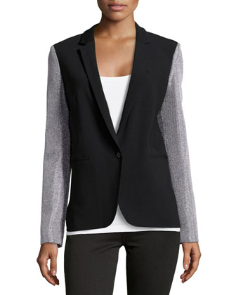 Crepe One-Button Contrast-Sleeve Blazer