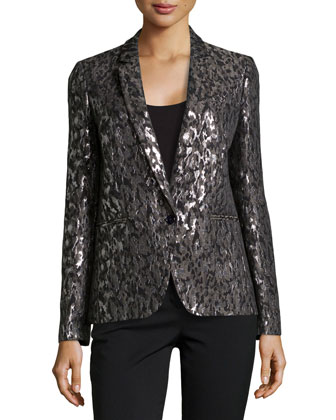 Metallic Brocade One-Button Jacket, Graphite