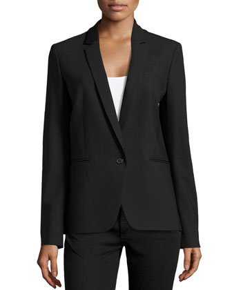One-Button Blazer, Black