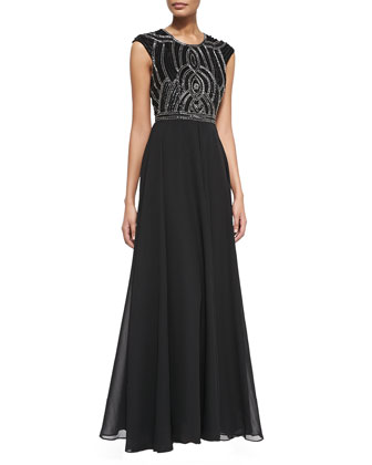 Cannes Cap-Sleeve Gown W/ Embellished Bodice
