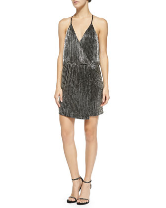 Silver Beaded Halter Cocktail Dress