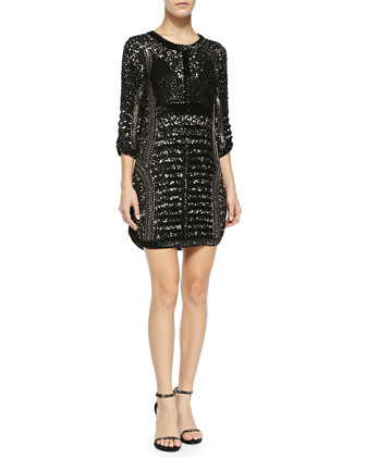 Petra Sequined & Beaded Cocktail Dress