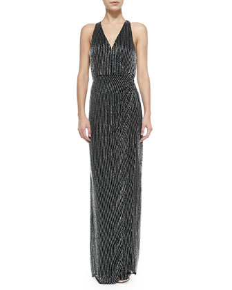 Theron Sleeveless Beaded Halter-Neck Gown