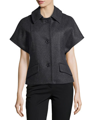 Melton Wool Short Dolman Sleeve Jacket, Charcoal