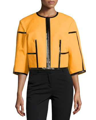 Taped Zip-Front Jacket, Taxi Cab