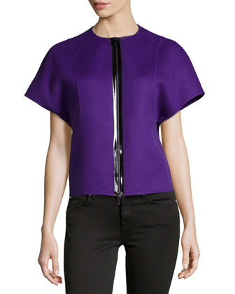 Double-Face Wool Zip-Front Jacket, Grape