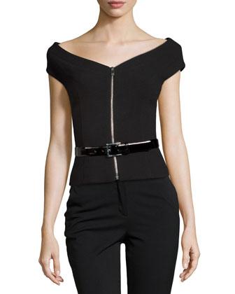 Zip-Front Belted Jacket