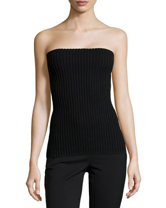 Merino Ribbed Tube Top, Black