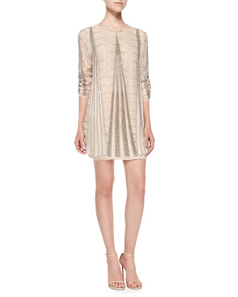 Michelle 3/4-Sleeve Beaded Cocktail Dress