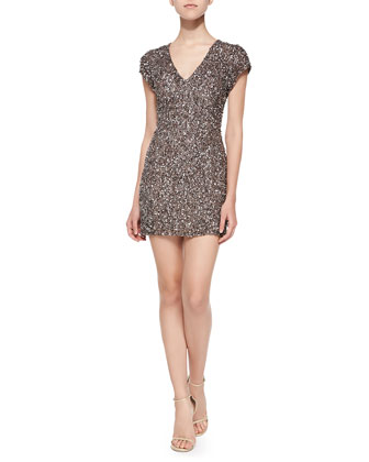 Serena Cap-Sleeve Beaded Cocktail Dress