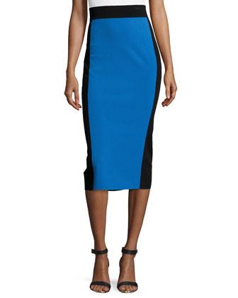 Two-Tone Knee-Length Pencil Skirt, Royal