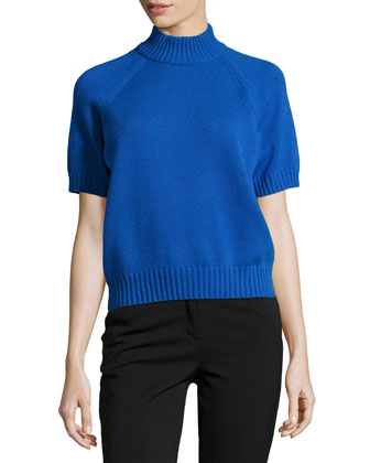 Mock-Neck Short-Sleeve Cashmere Sweater, Royal