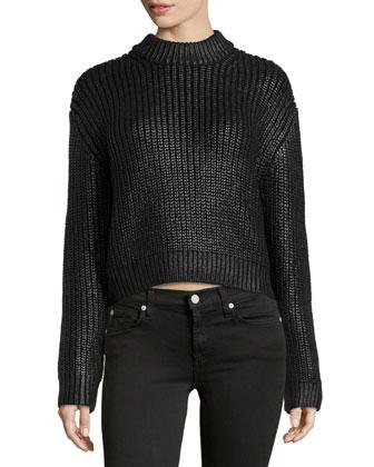 Ruberized Shaker-Knit Sweater, Black