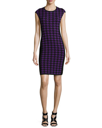 Houndstooth Formfitting Dress, Grape